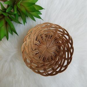 Small Vintage Bohemian Straw Basket